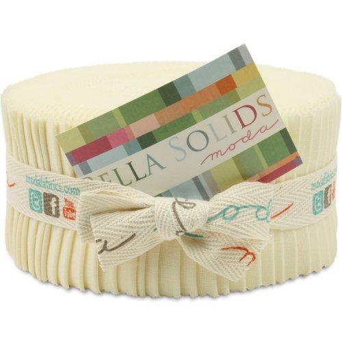 (Moda Basics Bella Solids Snow 9900-11 Jelly Roll, 40 2.5x44-inch Cotton Fabric Strips)