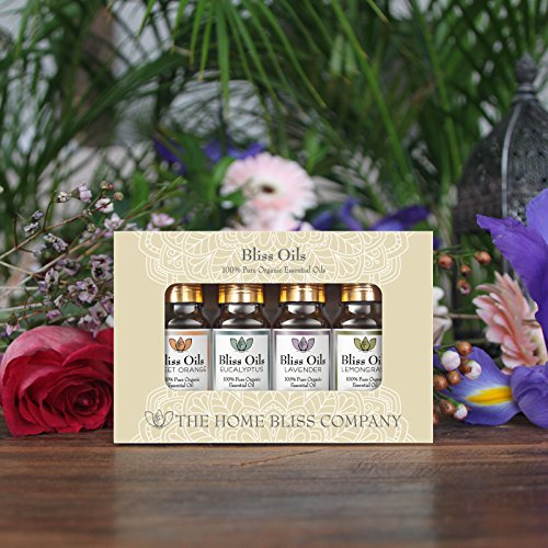 Bliss Oils Top 4 Organic Essential Oils 100% Pure & Natural Gift Set includes Organic Eucalyptus, Lavender, Sweet Orange & Lemongrass Oil in 4 x 10ml bottles.