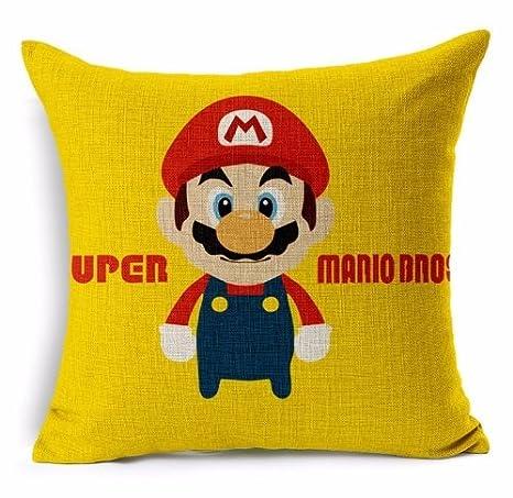 Super Mario Bros impresión a una cara decorativo lino y ...