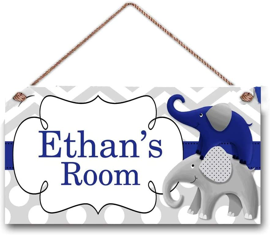 AJHERO Personalized Name Boys Bedroom Baby Nursery Navy Blue and Grey Chevron Dots Elephant Wooden Sign Decor Hanging Wall Art Room Sign