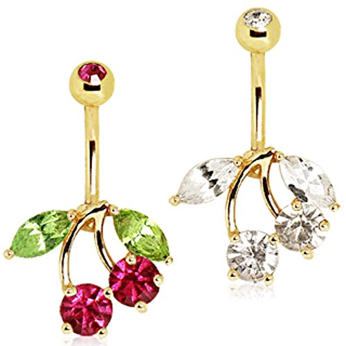 Navel Ring Cherry - Gold Plated Cherry Navel Ring