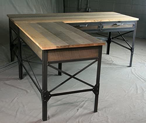 french industrial l shaped desk with drawers modern table with cross braces. Black Bedroom Furniture Sets. Home Design Ideas