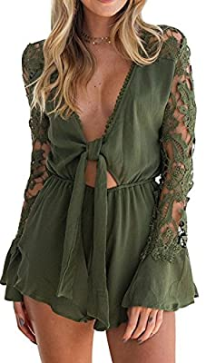 MISTY STORY Women's Lace Trim Deep V Neck Sexy Long-Sleeved Lotus Chiffon Jumpsuit Rompers