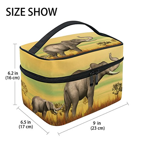 Print Mum (GIOVANIOR 3D Elephant Mum And Baby In The Savannah Print Large Cosmetic Bag Travel Makeup Organizer Case Holder for Women Girls)