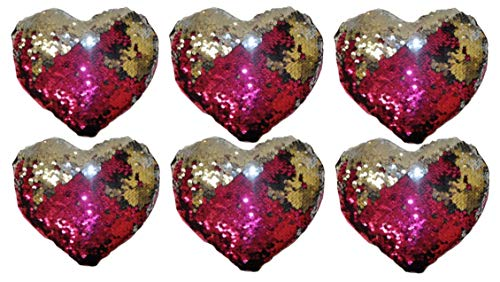 - Sequin Heart Pillows for Slumber Party Favors, Decoration or Get Well Wishes for Kids - 6 Reversible Mini Mermaid Style Pink Heart Pillows