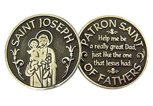 Religious Gifts Silver and Black Tone Patron of Fathers Saint Joseph Devotional Prayer Token, 1 1/8 Inch