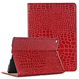 iPad Air 3 Case Wallet 10.5'', TechCode Luxury Slim Fit PU Leather Folio Stylish with Card Slots Magnetic Protective Stand Case Cover, Auto Sleep/Wake Function for iPad Air 3rd Gen 2019 (Red)