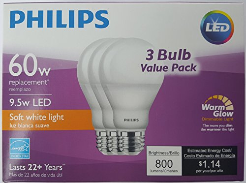 Philips 60 Watt Equivalent 9.5 Watts A19 LED Light Bulb, Dimmable, Warm Glow, Suitable for Damp Locations, (Philips Led Lighting)