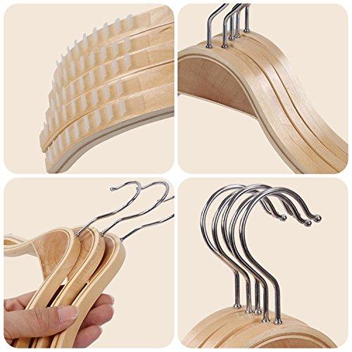 Wood Hangers 10 Pack | Suit Hangers Coat Dress Hangers Wooden Hangers with Non-Slip Stripes Nature Color