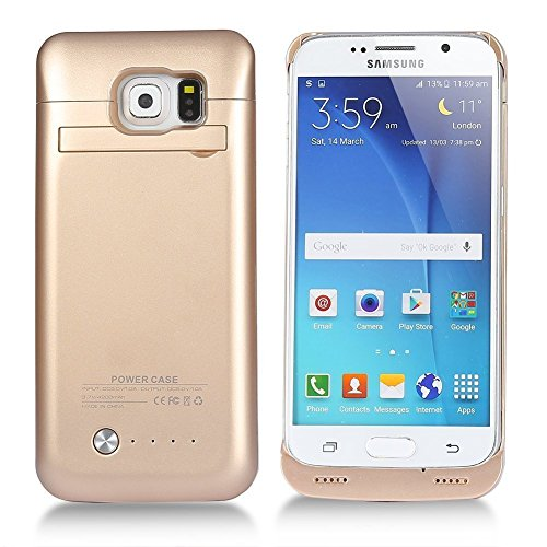 COOLEAD Battery Case for Galaxy S6, 4200mAh Slim External Protective Removable Rechargeable Portable Charging Case for Samsung Galaxy S6 with Kickstand [Gold]