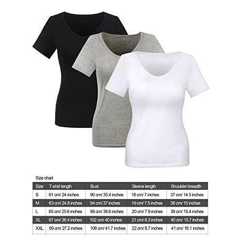 133be07332a delicate Willbond 3 Pieces Women T-shirt Short Sleeve Low V-neck Basic Tees