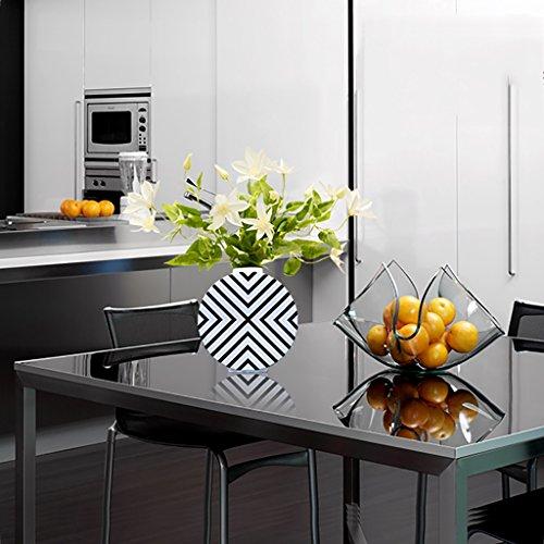 Vase Ceramic round black and white striped Flower arrangement porch living room decoration (Size : Trumpet+D flower)