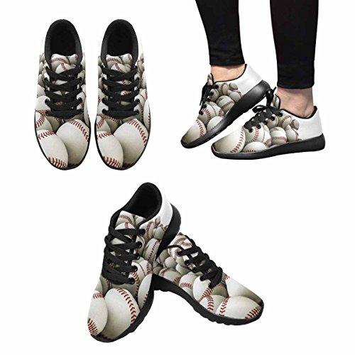 D-story Jogging Kör Sneaker Seamless Baseball Kvinna Casual Komfort Sports Gå Löparskor Svart