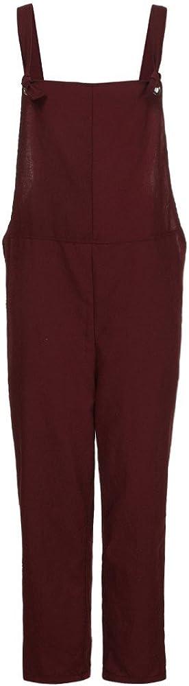 Sunenjoy Femme Salopette Bretelles /Ét/é Jumpsuit Combinaisons avec Poches Bodysuit Loose Casual Coton Large Ample Harem Sarouel Pantalon