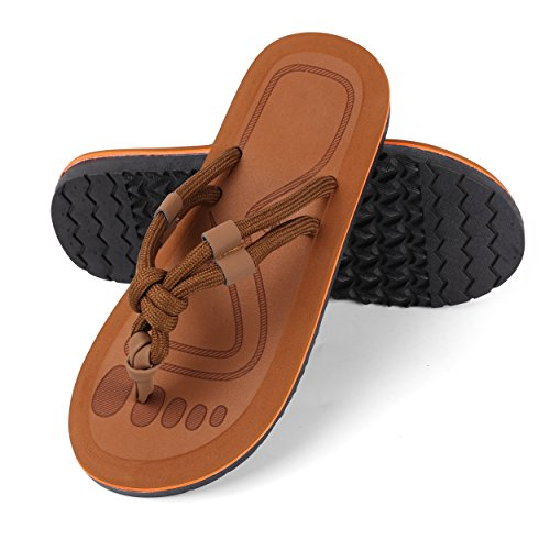 Price comparison product image Aerusi Men's Boy's Braid Knot Thongs Flip Flops Sandals Classic Leisure Casual Beach Slipper Shoes (USA Man Size 10-11 / Woman Size 11-12,  Tan)