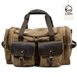 Yoome Leather Canvas Duffle Bag Weekend Overnight Bag Travel Tote Luggage for Women & Men