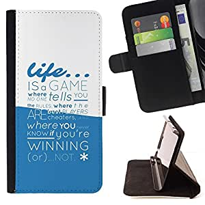 DEVIL CASE - FOR LG OPTIMUS L90 - Life Is A Game Typography - Style PU Leather Case Wallet Flip Stand Flap Closure Cover