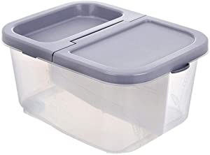 YYIJ Airtight Rice Storage Container with Seal Locking Lid and Partition Design 22 Lbs Dry Food Storage Container on Wheels Measuring Cup Included for Rice Dry Food Flour Cereal Storage