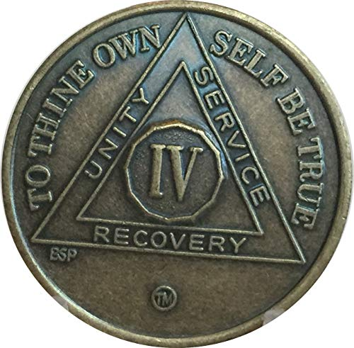 4 Year Antique Bronze AA Medallion Alcoholics Anonymous Sobriety Chip