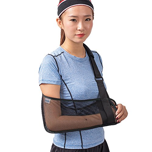 Cool Mesh Arm Sling Medical Shoulder Immobilizer Rotator Cuff Wrist Elbow Forearm Support Brace Strap Lightweight Breathable Simple Black for Broken&Fractured Arm
