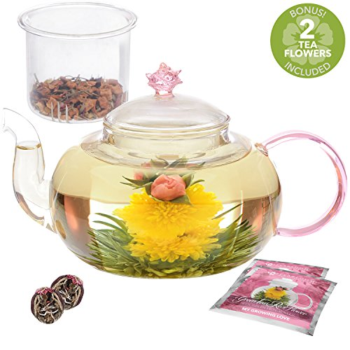 -[ Teabloom Pretty in Pink Rose Teapot - 1000 ml Borosilicate Glass Teapot, 2 Blooming Tea Flowers,