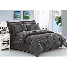 Elegant Comfort Wrinkle Resistant - Silky Soft Dobby Stripe Bed-in-a-Bag 8-Piece Comforter Set --HypoAllergenic - King Grey