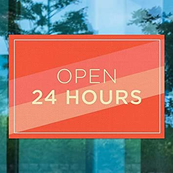 CGSignLab Open 24 Hours 30x20 Modern Diagonal Perforated Window Decal 5-Pack