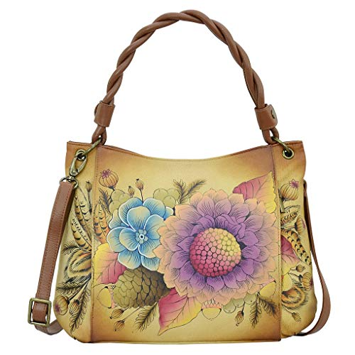 Anna by Anuschka Leather Hand Painted Tote Handbag Shoulder Purse Holder Bundle (Rustic Bouquet W Braided Handle)