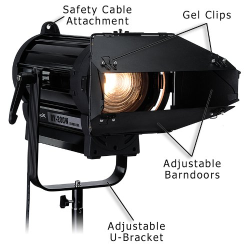 Fotodiox Pro DY-200w Tungsten Fresnel LED, High-Intensity LED Fresnel Light for Film & Television - with Remote Dimmable and Focusable Control, 12V AC Power Adapter, Light Stand bracket and Removable Barndoors, CRI > 85 by Fotodiox (Image #5)