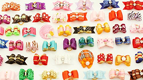 Roto – 20 Pcs/lot Crown Mix Pack Handmade Puppy Dogs Show Hair Bows Dog Bow for Yorkie Grooming Gift Supplies