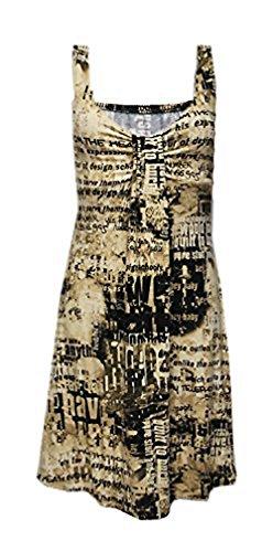 Robe D'été Longueur Genoux avec Motifs Ecritures - Taille Unique (38/40) Beige/Noir