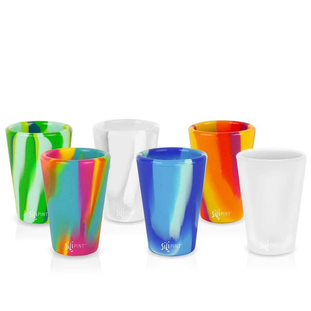 Silipint Silicone (Tie-Dye Variety) 1.5 Oz Shot Glasses, U.S. Patented, BPA-Free, Unbreakable, Freezable, Heat Resistant, Amazing Party Shot Glass (Set of 6-1.5 Oz)