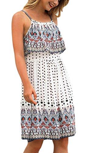 Jaycargogo Des Femmes De Robes Imprimé Floral Boho Partie De Plage Mini-robe Blanche