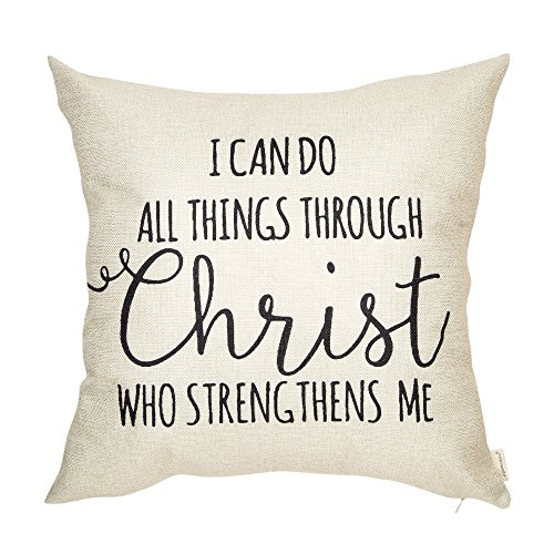 Fahrendom I Can Do All Things Though Christ Who Strengthens Me Motivational Sign Inspirational Quote Cotton Linen Home Decorative Throw Pillow Case Cushion Cover with Words for Sofa Couch 18 x 18 Inch