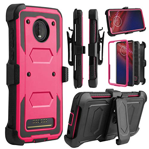 Full Body Protection - Venoro Moto Z4 Case, Moto Z4 Play Case, Heavy Duty Shockproof Full Body Protection Case Cover with Swivel Belt Clip and Kickstand for Motorola Moto Z4/Moto Z4 Play (Pink)