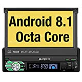 PUMPKIN Android 8.1 Car Stereo Single Din with 7 Inch Flip Out Touch Screen, Navigation, WiFi, Support Backup Camera, AUX, Android Auto, SD USB
