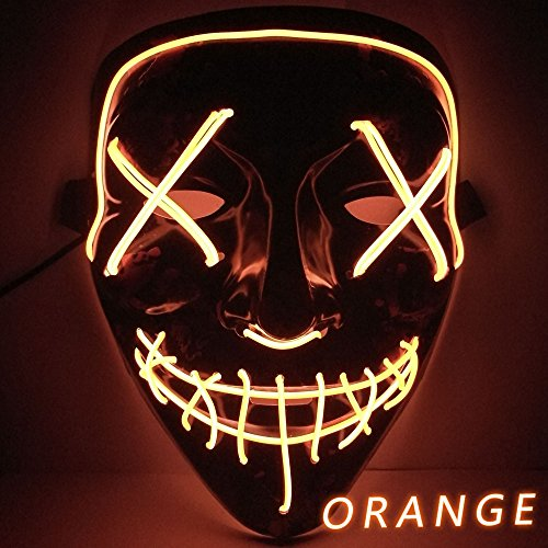 Kangkang Halloween Mask LED Light up Funny Masks The Purge Election Year Great Festival Cosplay Costume Supplies Party Masks Glow in Dark (Orange)