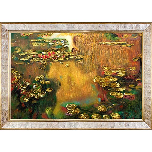 La Pastiche Water Lilies Metallic Embellished Artwork By Claude Monet With Gold Mother Of Pearl - Monet Of Pearl Mother