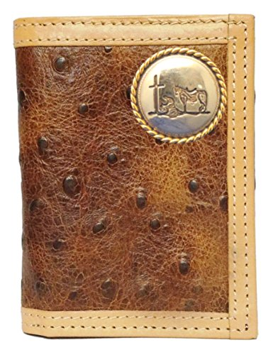 Custom Praying Cowboy Church Ostrich Print trifold wallet ()