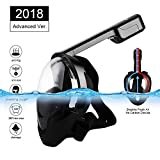Eartime Updated Version Snorkeling Mask Full Face Panoramic, Stop carbon dioxide, three-layer silicone ring leakproofness, antifogging and 2 Airway Innovation Full Dry Snorkel Set (BK, L/XL)