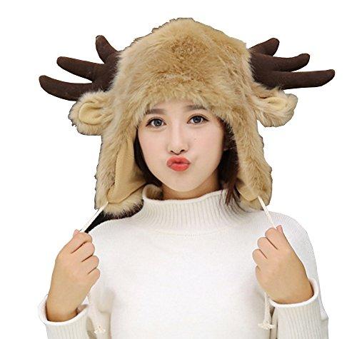 Elk Trapper (Sheliky Christmas Hat Fur Earflap Hat Winter Trapper Hat Beanies Ski Hat for Women Girls (Christmas elk))