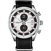 Stuhrling Original Men's Analog Watch – Stainless Steel True Dual Time Zone GMT W/Date Sports Watch – Comfortable, Durable NATO Nylon Strap – 845 Series (Black/White)