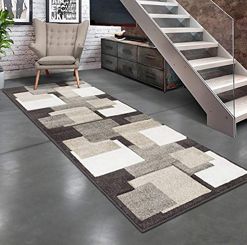- Allstar 2x7 Chocolate Abstract Rectangular Runner with Taupe and Ivory Square Design Area Rug (2' 7
