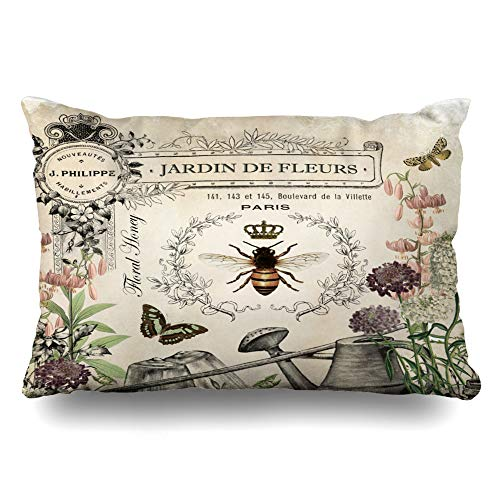 (Ahawoso Throw Pillow Cover Pillowcase Queen Modern Vintage French Bee Wateringcan Antique Honey Crown Decorative Pillow Case Home Decor Standard 20x26 Inches Cushion Case )