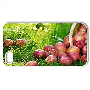 Apples - Case Cover for iPhone 4 and 4s (Watercolor style, White)