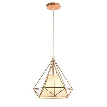 01745ea6b2863 STOEX E27 Métal Retro Lustre Suspension industrielle forme Diamant 25cm,  Lampe de Plafond Abat-Jour Luminaire, Or Rose