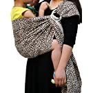 Vlokup® Baby Ring Sling Carrier for Newborn Original Adjustable Infant Lightly Padded Wrap Breastfeeding Privacy 100% Cotton Leopard Black