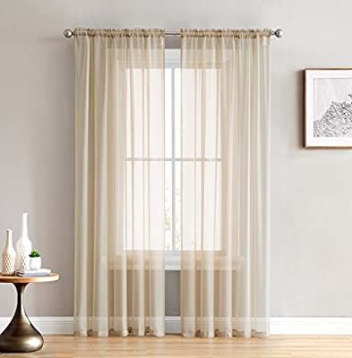 HLC.ME Sheer Voile Window Treatment Rod Pocket Curtain Panels for Bedroom Living Room - Set of 2 Panels - 18, 24, 45, 54, 63, 72, 84, 90, 95, 108, 120 inch Lengths