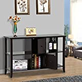 Yaheetech 3 Tier Solid Wood Console Sofa Table w/2 Grooved Cubby Storage Espresso Finished