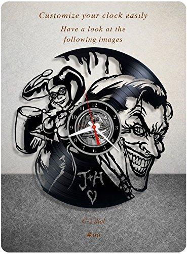 Joker Clock - The Joker and Harley Quinn vinyl clock, vinyl wall clock, vinyl record clock dc comics clock batman joker supervillain wall art home decor 066 - (c2)